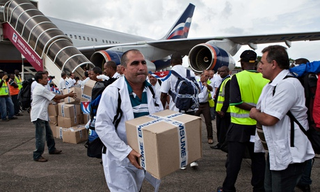 medical supplies at Freetown's airport to help fight Ebola in Sierra Leone.