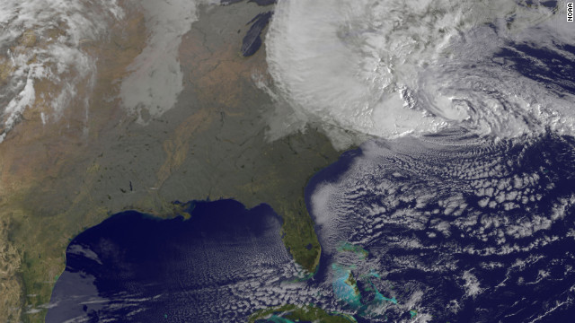 A satellite image shows Hurricane Sandy on Monday, October 29, at 8:25 a.m. ET. Forecasters warned that Sandy was likely to collide with a cold front and spawn a