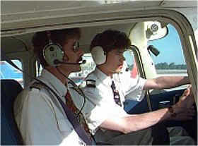 Flight instructor and a student